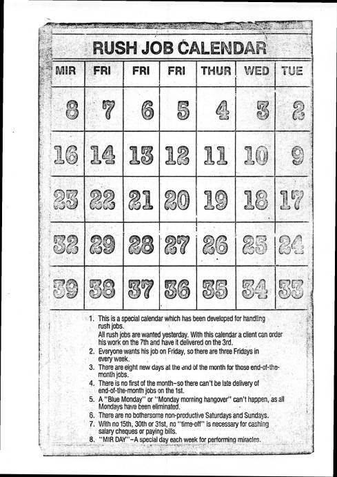 Rush Job Calendar