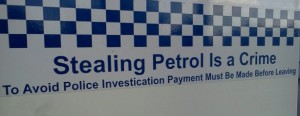 Stealing petrol is a crime and so should be typos on large places such as this. Can you spot the problem?