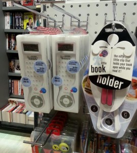 Ok, so you're going to be on a long flight and you're buying your next book but your hands are tired. Why not also buy a book holder?